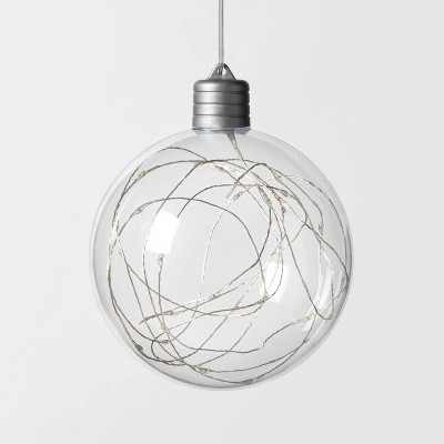 Christmas LED Clear Sphere with 30 Dew Drop String Lights Multicolored Twinkle with Silver Wire - Wondershop™