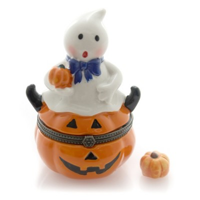 "Hinged Trinket Box 3.75"" Halloween Ghost Pumpkin Scary Fun  -  Decorative Figurines"