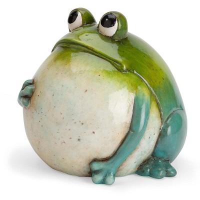 Wind & Weather Hand-Painted Indoor/Outdoor Big Belly Ceramic Frog Sculpture