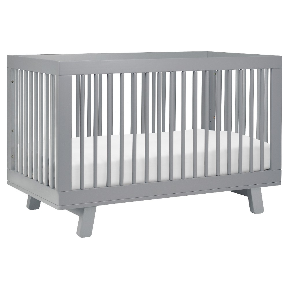 Image of Babyletto Hudson 3-in-1 Convertible Crib with Toddler Rail, Gray