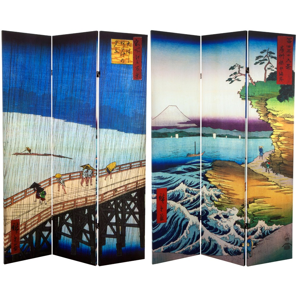 6' Tall Double Sided Hiroshige Room Divider Sudden Shower/Coast At Hota - Oriental Furniture, Multicolored