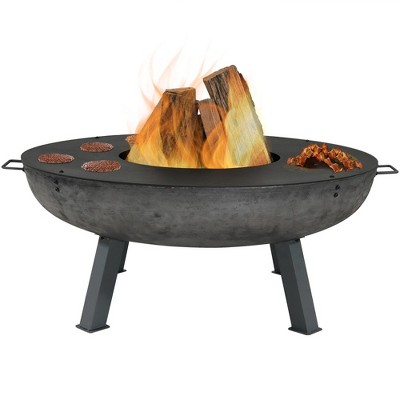 "Cast Iron 40"" Wood Burning Fire Pit with Cooking Ledge - Round - Sunnydaze Decor"