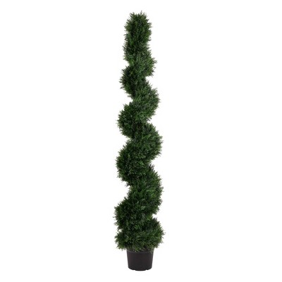 Artificial Cedar Spiral On Pot (UV) (6') - Vickerman