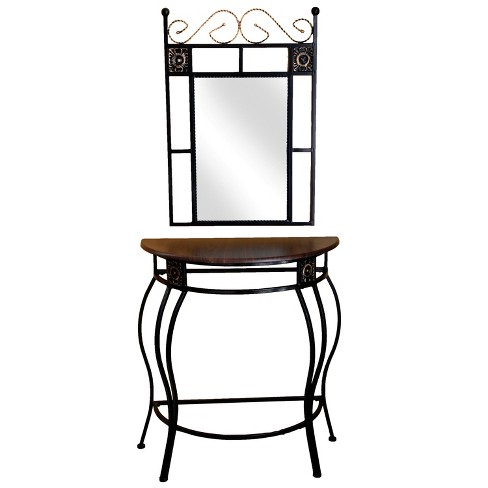 Mirror And Console Table Metal Brown/Black - Home Source Industries - image 1 of 4