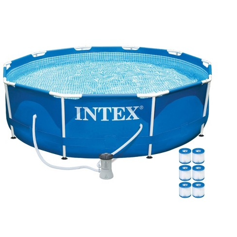 Intex 10ft x 30in Metal Frame Above Ground Pool Set w/ 330 GPH Pump & Filters - image 1 of 5