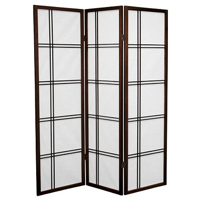 5 ft. Tall Double Cross Shoji Screen (3 Panels) - Oriental Furniture