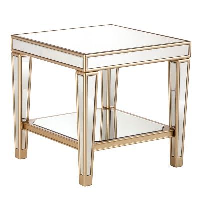 Superbe Minho Mirrored End Table Metallic Champagne Gold   Aiden Lane : Target