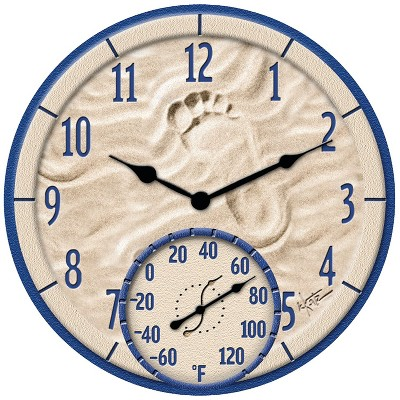 """Taylor 91501 14"""" By The Sea Poly Resin Clock With Thermometer TAP91501"""