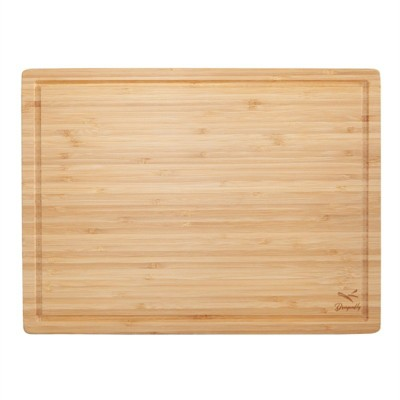 Bamboo Large Chopping Board with Juice Groove in Natural Brown-Pemberly Row