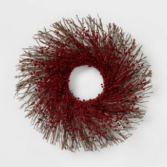 "21.2"" Dried Flax Wreath Red/Brown - Smith & Hawken™"