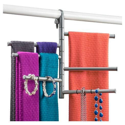 926a019b7fa Lynk Hanging Pivoting Scarf Rack And Accessory Holder - Closet Hanger  Organizer Rack - Platinum   Target