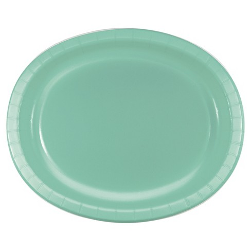 """Fresh Mint Green 10"""" x 12"""" Oval Platters - 8ct - image 1 of 2"""