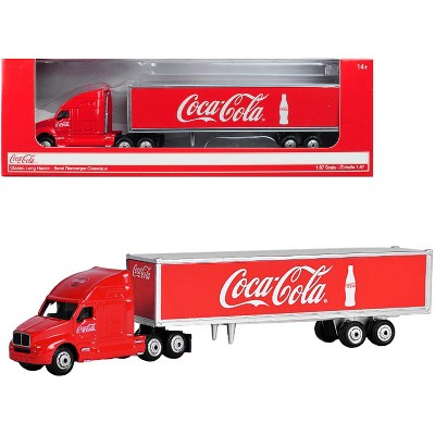 """Classic Long Hauler Tractor Trailer """"Coca-Cola"""" Red 1/87 (HO) Scale Diecast Model by Motorcity Classics"""