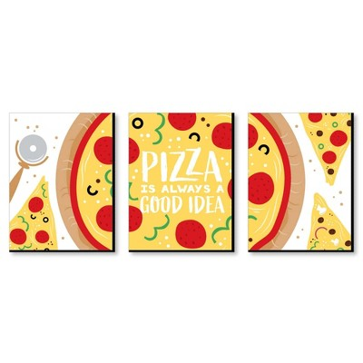 Big Dot of Happiness Pizza Party Time - Kitchen Wall Art and Restaurant Decorations - 7.5 x 10 inches - Set of 3 Prints