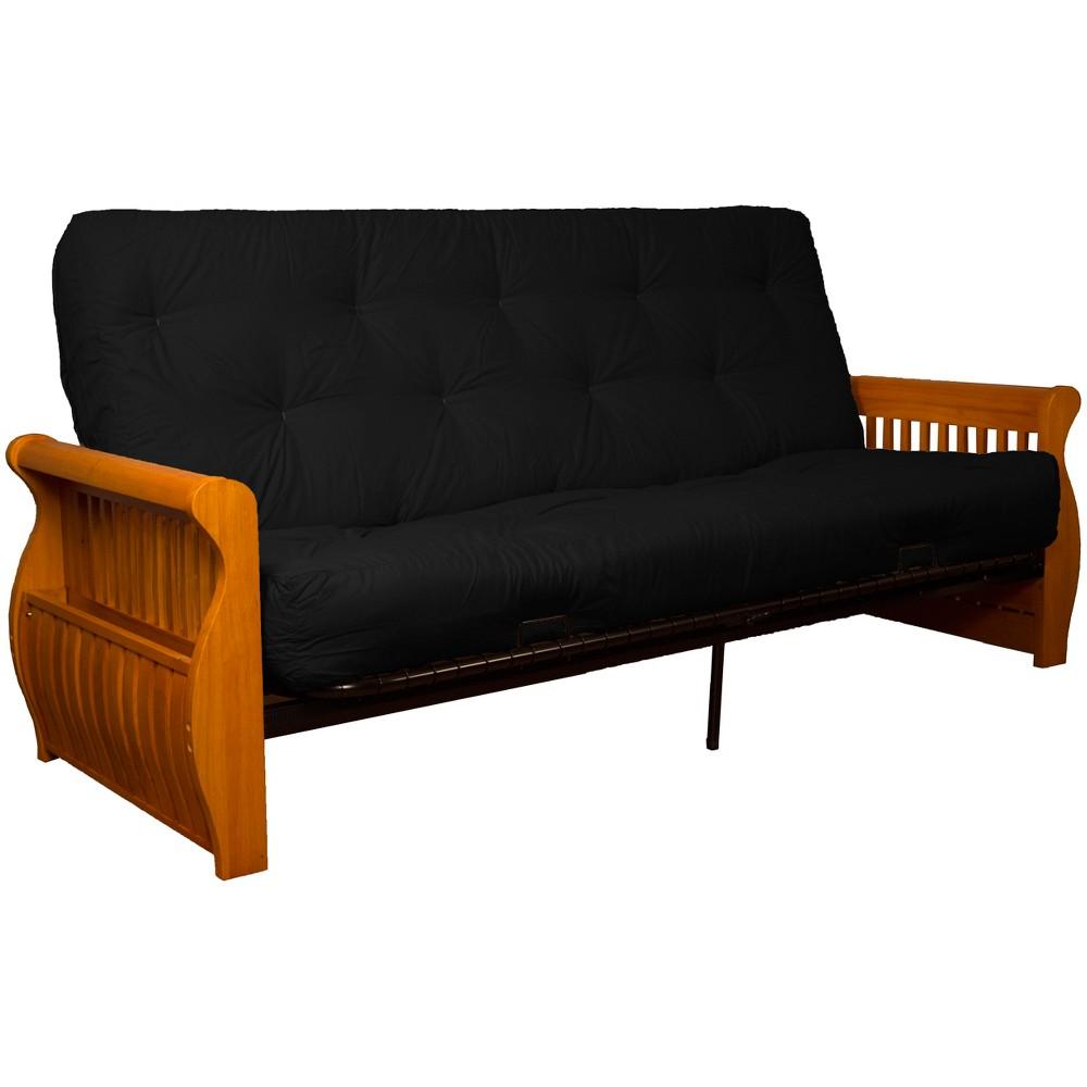 Storage Arm 8 Inner Spring Futon Sofa Sleeper Medium Oak Wood Finish Twill Black - Epic Furnishings