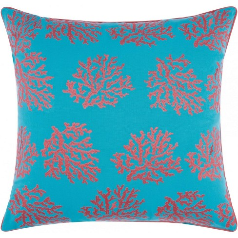Mina Victory Embellished Corals Turquoise/Coral Outdoor Throw