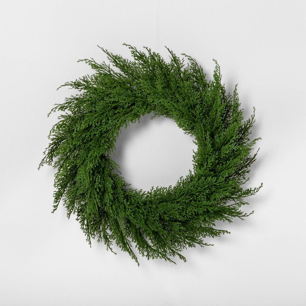"Image of ""18"""" Faux Cedar Wreath - Hearth & Hand with Magnolia, Green"""