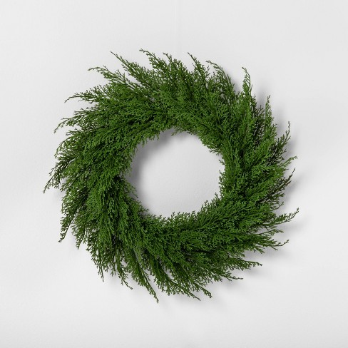 "18"" Faux Cedar Wreath - Hearth & Hand™ with Magnolia - image 1 of 4"