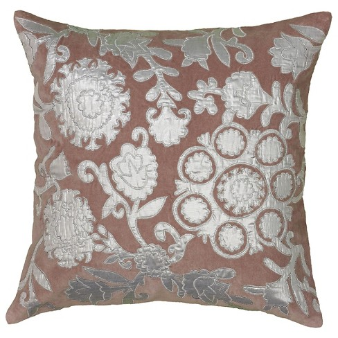 Plum/Silver Applique and Embroidered Cotton Velvet Throw Pillow - Rizzy Home - image 1 of 1