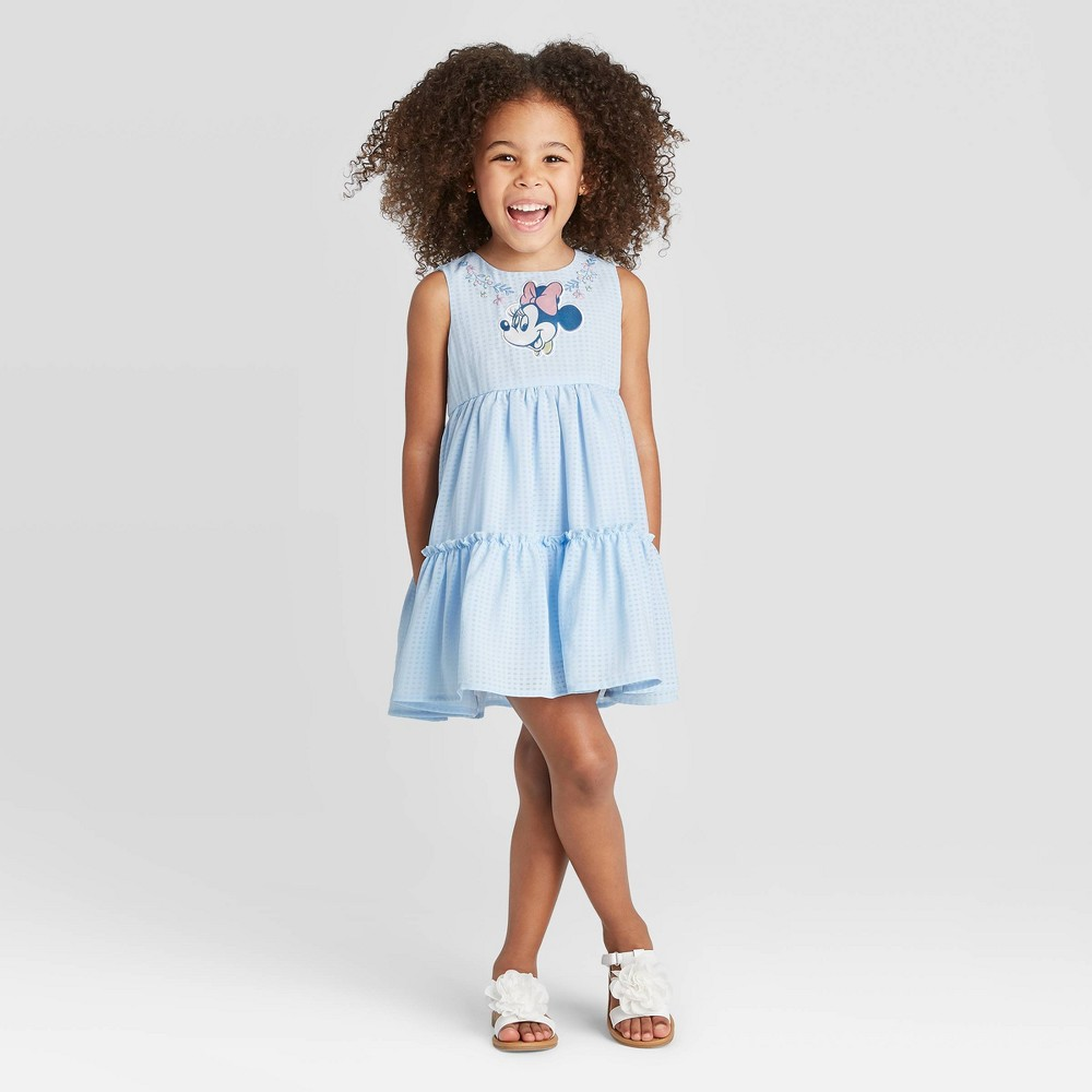 Image of Toddler Girls' Disney Sleeveless Minnie Mouse Tiered Organza Dress - Light Blue 12M, Girl's