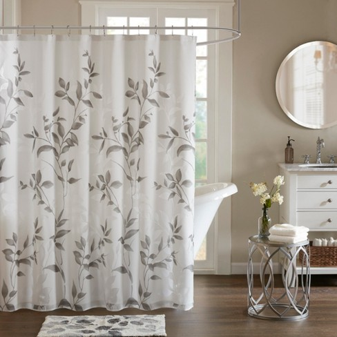 Shower Curtain Leaf Gray - image 1 of 2