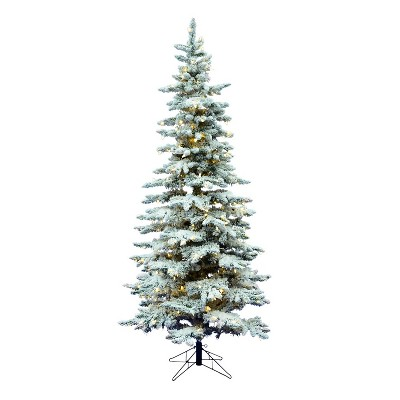 Vickerman Slim Utica 6.5 Foot Frosted Flocked Prelit Artificial Christmas Tree with LED Light and Stand for Holiday Season
