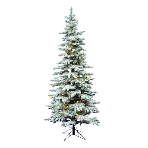 Vickerman Slim Utica 6 5 Foot Frosted Flocked Prelit Artificial Christmas Tree With Led Light And Stand For Holiday Season Target