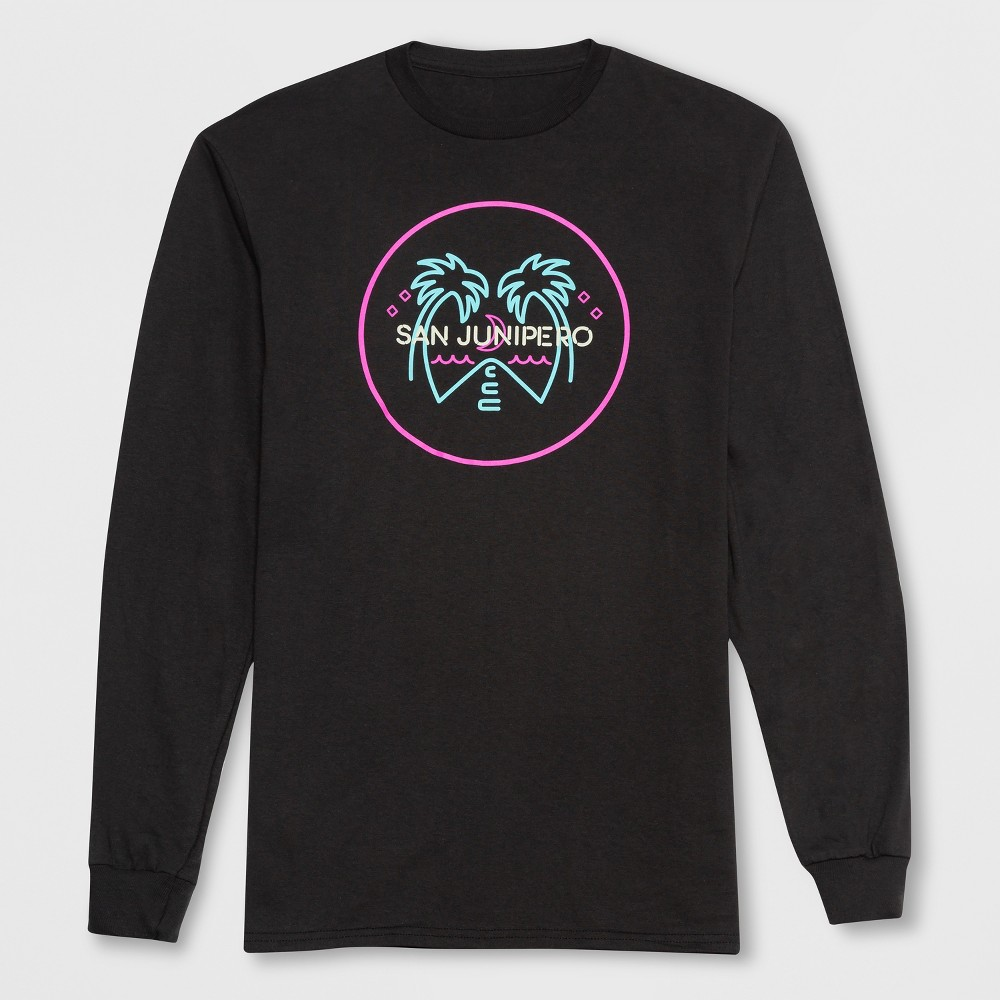 Men's Long Sleeve Black Mirror San Junipero Crew T-Shirt - Onyx M