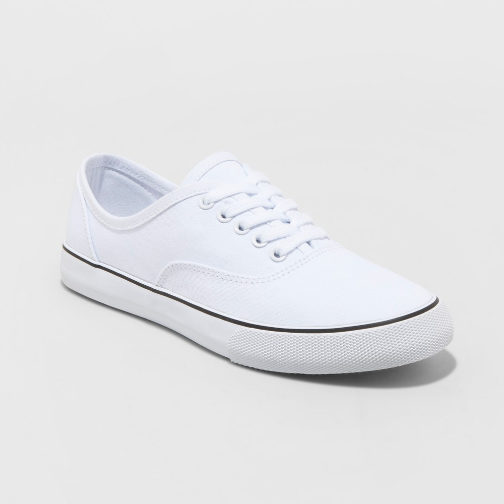 Women's Layla Lace-Up Canvas Sneakers - A New Day White 7