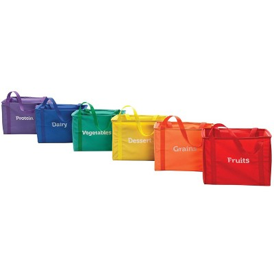 Sportime My Plate Nutrition Container Bags, Nylon, 13 x 9 x 10 Inches, set of 6