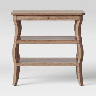 Shelburne Wood Nightstand with Open Shelves Brown - Threshold™
