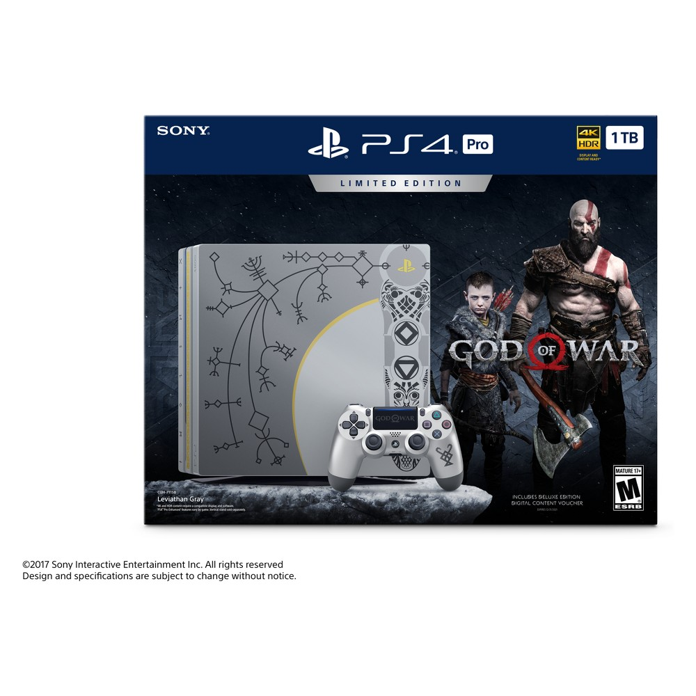PlayStation 4 Pro 1TB God of War Limited Edition Bundle, Multi-Colored