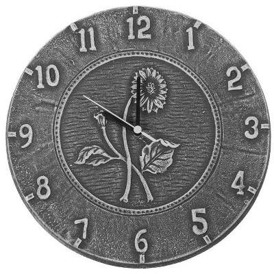 "Swim Central 12"" Weathered Gray Terra Cotta Embossed Sunflower Indoor or Outdoor Wall Clock"