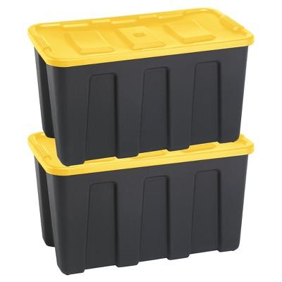 Durabilt®34 Gal Storage Totes, Set of 2, Black/Yellow
