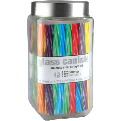 Home Basics 67 oz. Square Glass Canister with Brushed Stainless Steel Screw-on Lid Clear - image 1 of 2
