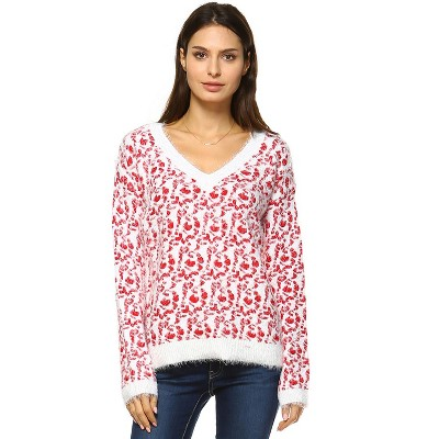 Women's Leopard Printed Sweater - White Mark