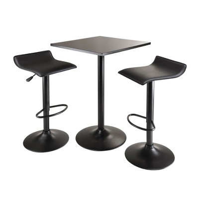 3pc Obsidian Counter Height Dining Set with Air Lift Adjustable Stools Wood/Black - Winsome