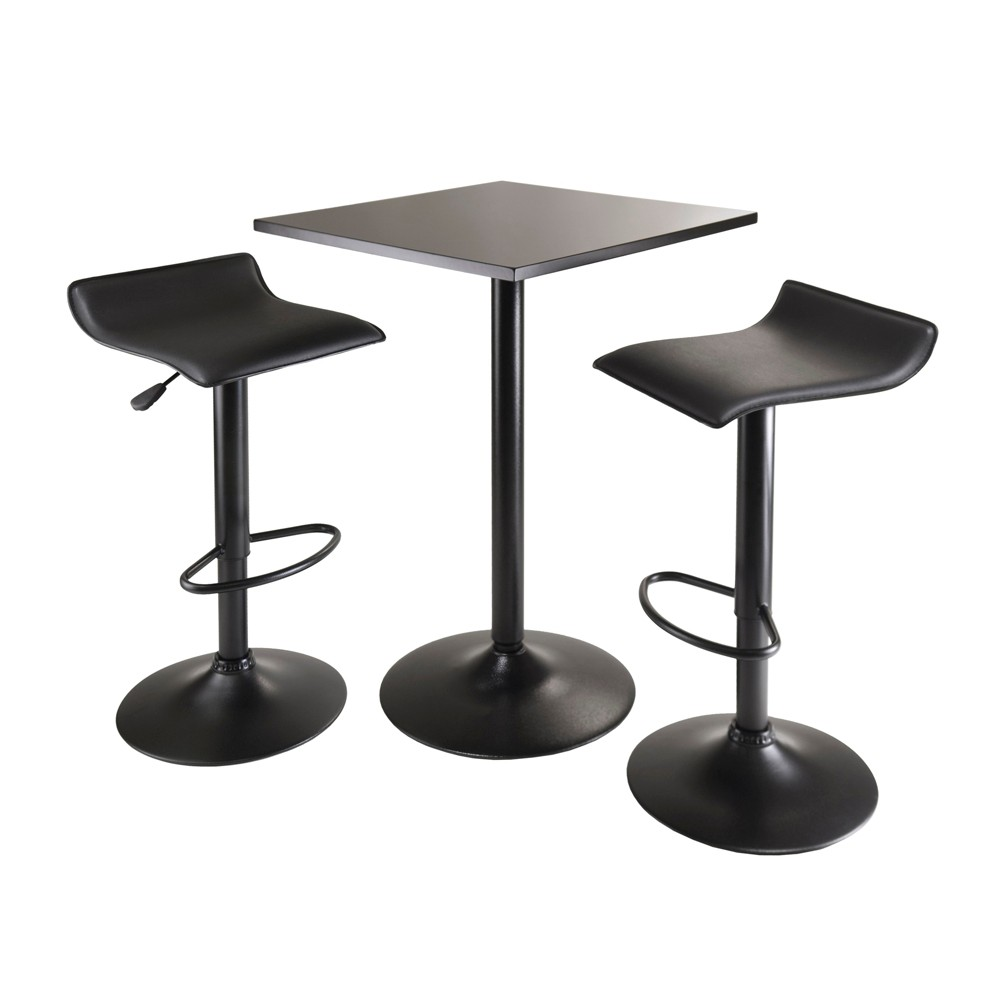 3 Piece Obsidian Counter Height Pub Table Set with Air Lift Adjustable Stools Wood/Black - Winsome