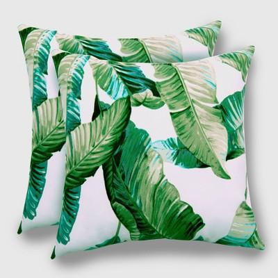 2pk Vacation Tropical Outdoor Throw Pillows DuraSeason Fabric™ Green - Threshold™