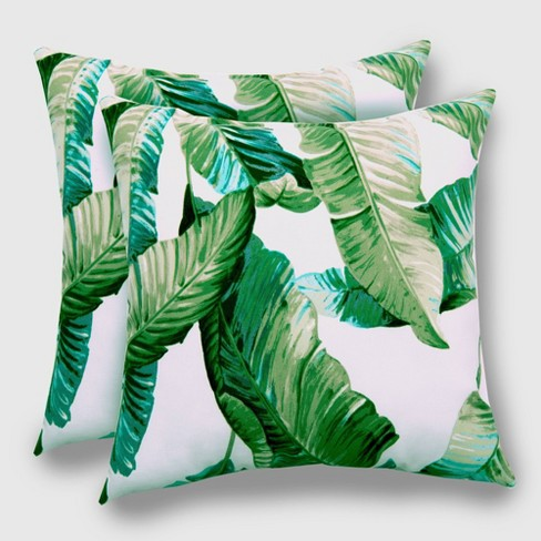 2pk Vacation Tropical Outdoor Throw Pillows DuraSeason Fabric™ Green - Threshold™ - image 1 of 3
