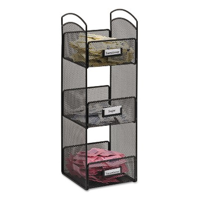Safco Onyx Breakroom Organizers 3 Compartments 6 x 6 x 18 Steel Mesh Black 3290BL
