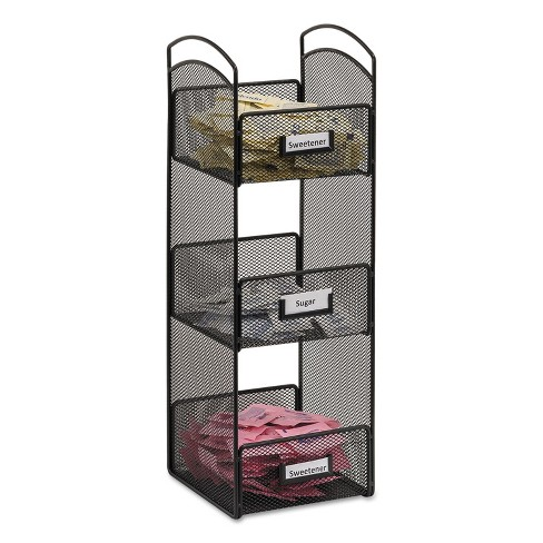 Safco Onyx Breakroom Organizers 3 Compartments 6 x 6 x 18 Steel Mesh Black 3290BL - image 1 of 2
