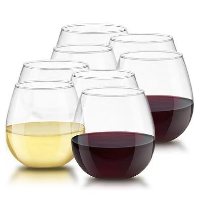 JoyJolt Spirits Stemless Wine Glasses for White or Red Wine - Set of 8 -15-Ounces