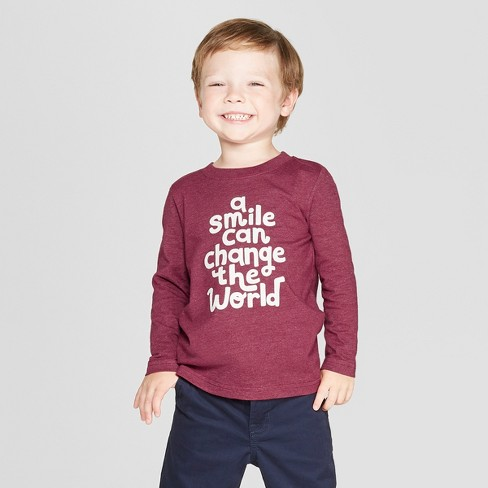9c29f3e4a17 Toddler Boys  a Smile Can Change The World Long Sleeve T-Shirt - Cat   Jack™  Country Red