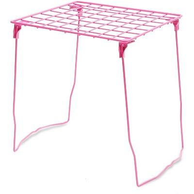 Locker Shelf Accessories Organizer for School, Stackable & Foldable, Pink (11.2 x 10 x 12.4 inches)