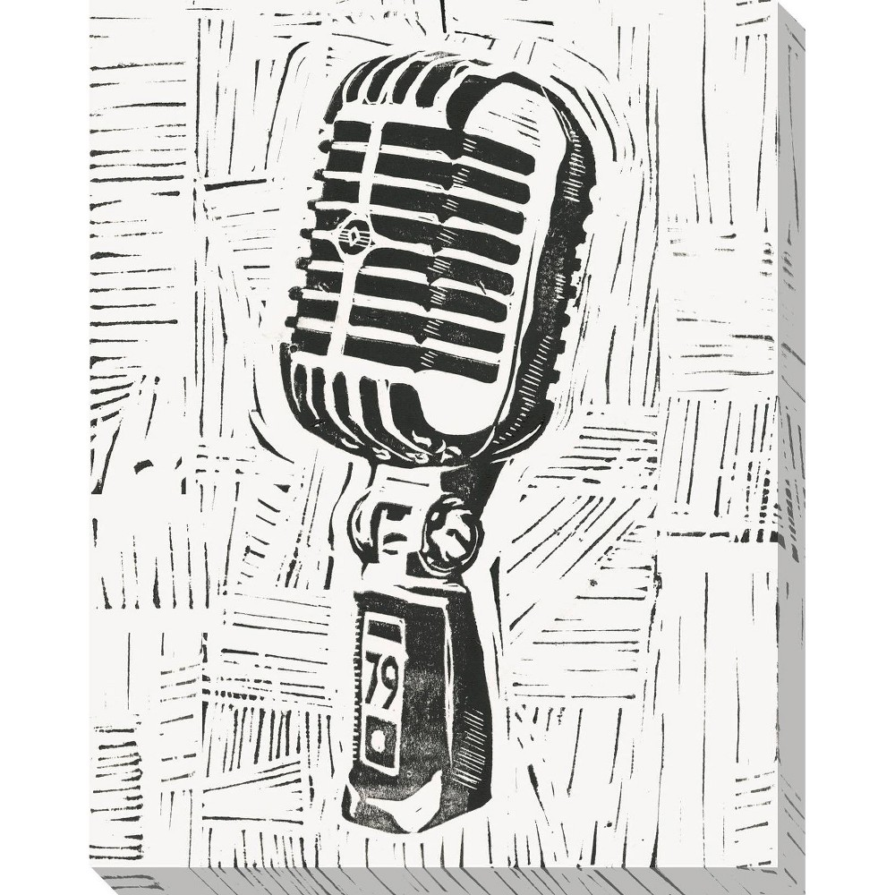 Image of Rock & Roll Microphone Unframed Wall Canvas Art - (20X24)