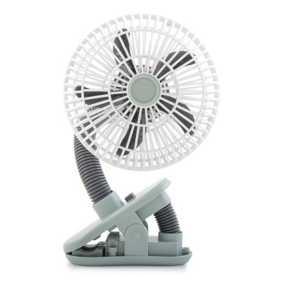 "O2COOL 4"" Battery Powered Portable Clip Fan Gray"