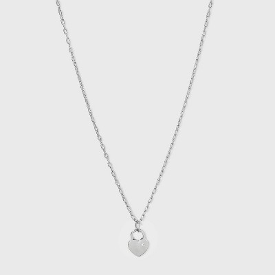 Silver Plated Padlock Heart Pendant Necklace - A New Day™ Silver