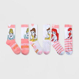 Women's Disney Princess Valentine's Day 3pk Crew Socks Box - White 9-11