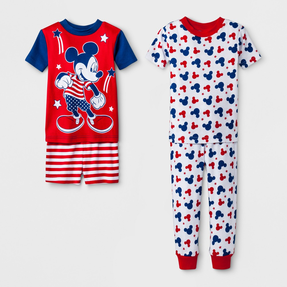 Toddler Boys' Mickey Mouse 4pc Pajama Set - Red 4T